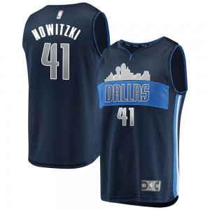 Dallas Mavericks Swingman Navy Dirk Nowitzki Fast Break Jersey - Statement Edition - Youth