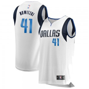 Dallas Mavericks Swingman White Dirk Nowitzki Fast Break Jersey - Association Edition - Youth