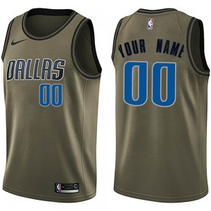 Nike Dallas Mavericks Swingman Green Custom Salute to Service Jersey - Men's