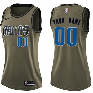 Nike Dallas Mavericks Swingman Green Custom Salute to Service Jersey - Women's
