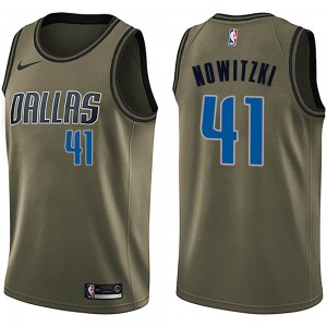 Nike Dallas Mavericks Swingman Green Dirk Nowitzki Salute to Service Jersey - Men's