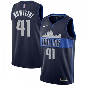 Nike Dallas Mavericks Swingman Navy Dirk Nowitzki Jersey - Statement Edition - Men's