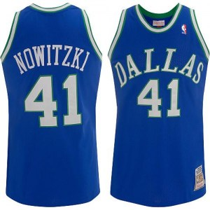Mitchell and Ness Dallas Mavericks Authentic Blue Dirk Nowitzki Throwback Jersey - Men's